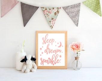 Sleep dream sparkle nursery print,  art print,  poster for bedroom, nursery, apartment, or home decor
