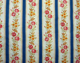 Blue stripes & little roses cotton sheet fabric single bed coverlet bedspread - French 30s 40s vintage