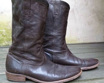 Vintage Frye Boots, Soft Brown Leather, Men's Size 11D, Leather Sole, Cowboy, Rancher, Pull On, Roper, Rustic