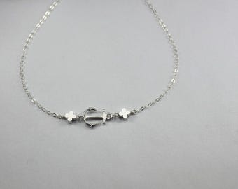 Anchor necklace. anchor jewelry. clover bracelet. silver mini clover bead. Luck jewelry.gift for couple. valentines gift. anchorjewelry,