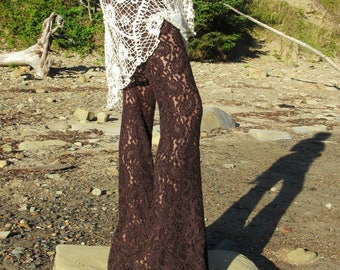 CROCHET lace paisley boho beach yoga  resort festival burning man gypsy hippie bell bottom pants with shorts liner (optional)