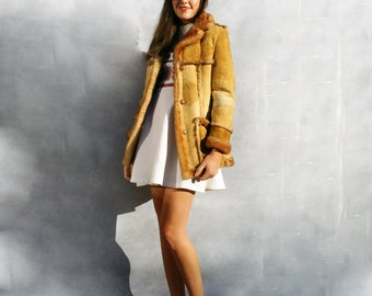 Shearling Afghan Coat, Sheepskin Shearling Coat, Bohemian, Penny Lane Coat, Mongolian Sheepskin Coat, Vintage Sheepskin Coat, Cream Fur Coat