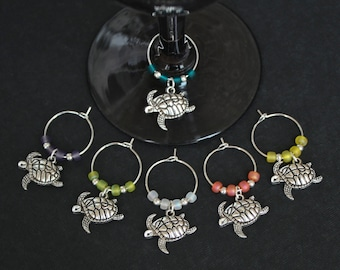 Sea Turtle Wine Glass Charms-Set of 6-LGSEATRTL001-6