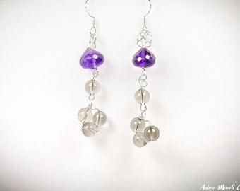 Amethyst earrings, Amethyst drop earrings, Purple earrings, Long earrings, Sterling silver amethyst, Amethyst jewelry, All day earrings