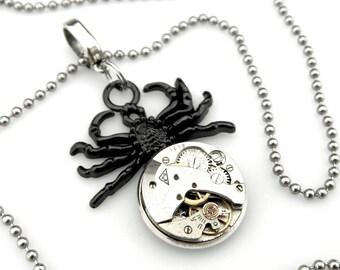 Black Spider Pendant - Steampunk Spider Necklace - Black Widow Necklace - Tarantula Necklace - clockwork spider pendant  Steampunk gift idea