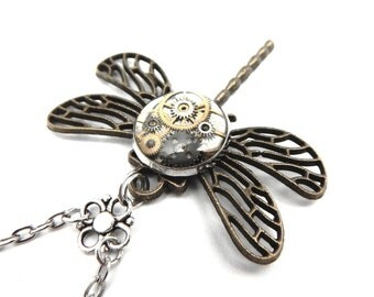 Clockwork Dragonfly Necklace - Rustic Steampunk Dragonfly Pendant  -  Edwardian Necklace - insect jewelry watch parts in resin