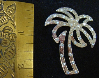 Vintage silver tone and rhinestone Palm tree brooch