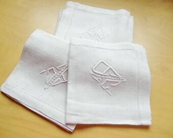 French antique Damasked Linen napkins, hand embroidered  monogram JD, monogrammed JD, set of 7