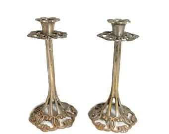 Art Nouveau Candlesticks Ornate Metal Cast True Period
