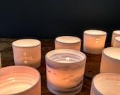 Porcelain tea light candle holder - personnalized for Gabriella Velasco