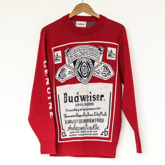 VTG Original 1980s Budweiser Sweater Sz. M Medium by Campus
