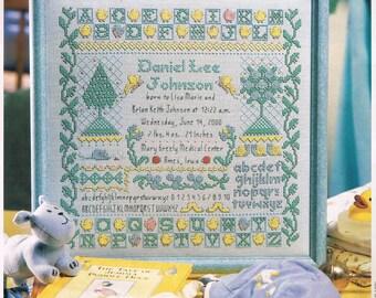 CROSS STITCH - Blue Boy Birth Announcement Sampler Cross Stitch Pattern -Baby Birth Announcement Pattern - Alphabet Sampler