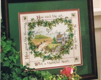 CROSS STITCH PATTERN - Thankful Heart Cross Stitch Pattern - Country Cross Stitch - Inspirational Cross Stitch