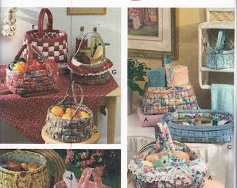 Fabric Basket Sewing Pattern - Woven Fabric Basket Craft Pattern - Home Decor Pattern - Simplicity 9420