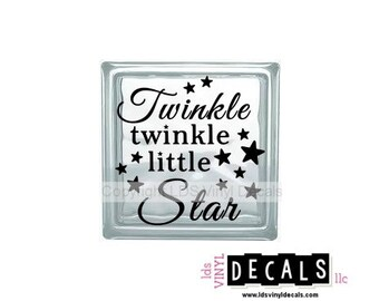 Twinkle twinkle little Star - Baby Vinyl Lettering for Glass Blocks - Craft Decals for Babies and Kids