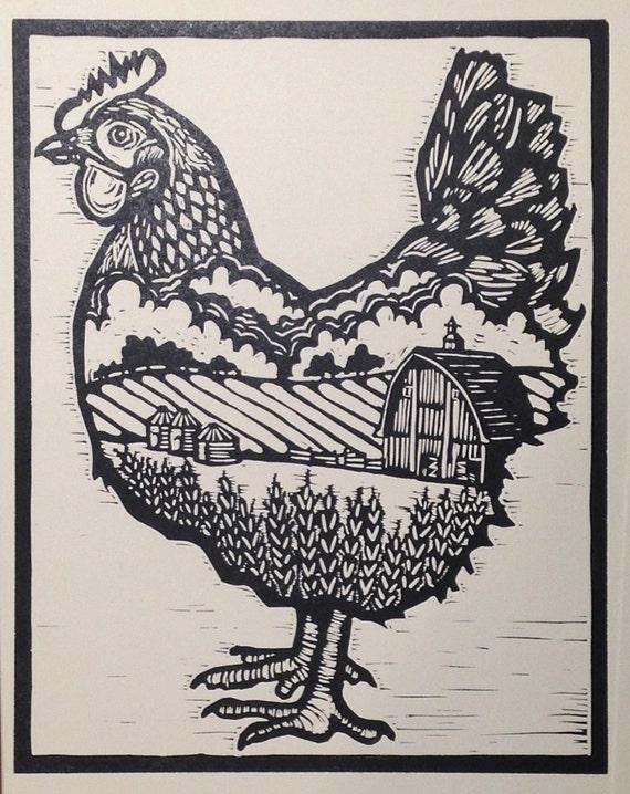 Bantam Chicken Hand Carved Linocut Print