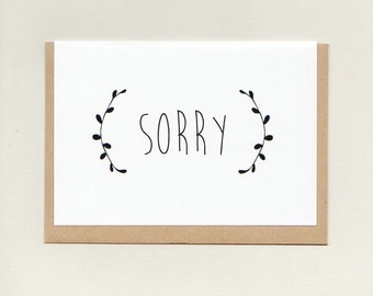 SORRY . greeting card . apology . sympathy . i'm sorry . my bad . wreath minimalist simple plain . australia