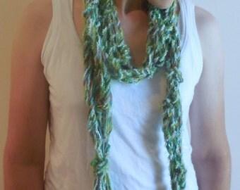 Extra Long Green String and Ribbon Scarf