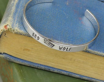 Bad Wolf Aluminum Brass Copper or Sterling Silver Cuff Bracelet • Doctor Who Handstamped Jewelry