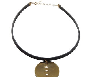 Brass Textured Circle and Black Leather Choker Necklace: black Leather Choker; Textured Brass; Statement Necklace; Statement Jewelry