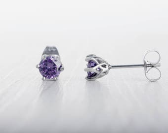 Natural Amethyst stud earrings, available in titanium, white gold and surgical steel 4mm, 5mm and 6mm sizes