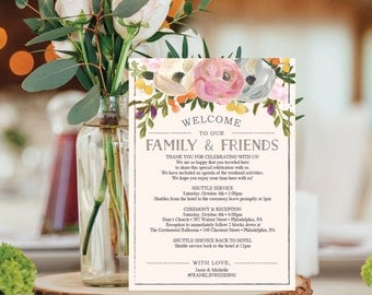 Wedding Itinerary Template - Wedding Welcome Bag Printable Itinerary - Editable Welcome Letter - 5x7 Wedding Agenda - DIY - Instant Download