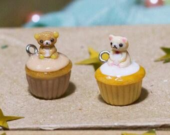 Teddy Bear Polymer Clay Cupcake Charm