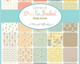 Free Pattern MODA Fat Quarter Bundle (35fq's) Corner Of 5th And Fun Collection Sandy Gervais  For Moda Fabric Children's Collection