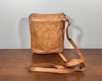 Tooled Leather Purse, Cross Body, Bag, Brown Leather, Shoulder Bag, Made in Paraguay, Boho Bag