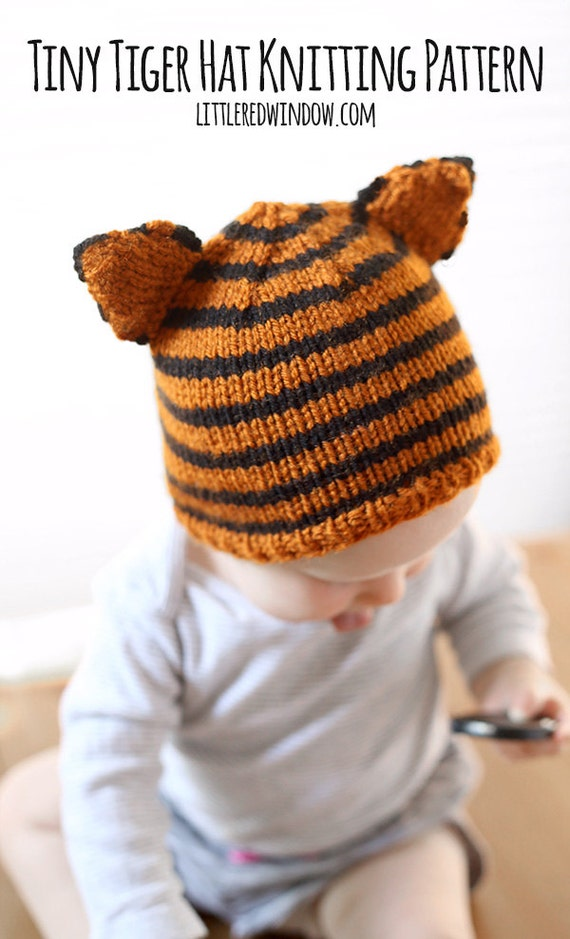 TIny Tiger Baby Hat KNITTING PATTERN - knit cat hat pattern for babies, infants, toddlers - sizes 0-3 months, 6 months, 12 months, 2T+