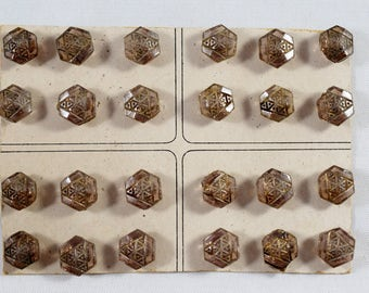 Vintage Antique 24 Tiny Smoky-Quartz-Color Hexagon Carved Glass Buttons on the Original Card - 8.5 mm