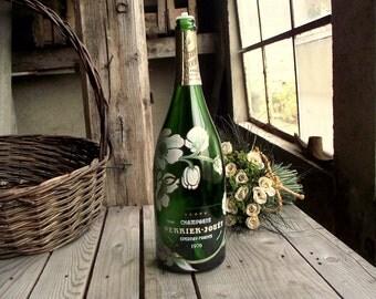 Champagne Bottle - Perrier Jouet Bottle - Vintage Large Bottle - Bottle Lamp Base - Magnum Bottle - French Champagne - French Home Decor