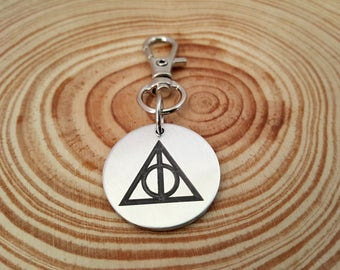 Engraved Deathly Hallows Symbol Zipper Pull | Purse Charm | Clip on Charm