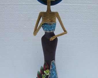SOLDIER CATRINA REVOLUTIONARY  mexican folk art day of the dead sculpture 12""