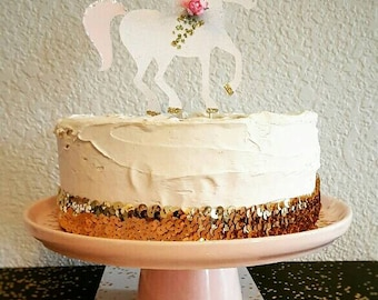 Unicorn Cake Topper!! Perfect for a birthday party or Baby Shower! Sparkly! Birthday Party! Unicorn Party! Cake Topper!
