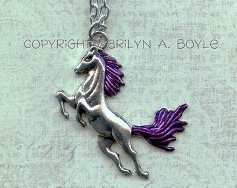 PENDANT - PURPLE MANED Horse;  Valentine's gift, for her, jump for joy, for the horse lover, jewelry,