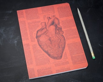 Anatomical Heart Softcover Notebook | Anatomy Journal Nursing Student Cardiology College Ruled Lined Recycled Paper, Medical Illustration