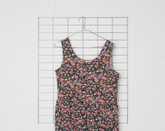 mega faded floral drop waist romper with pockets
