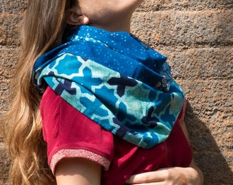 infinite scarf-stole-patchwork of cotton, hand dyed in natural indigo