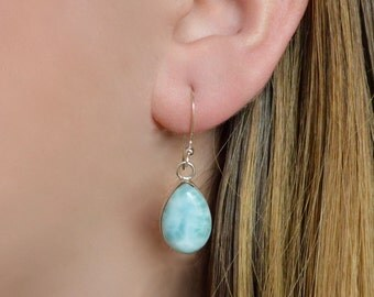 Simple Teardrop Larimar Dangle Earring // Larimar Jewelry // Sterling Silver // Village Silversmith