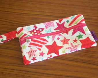 "CLEARANCE - Christmas Stars Zipper Pouch, Medium, Great Knitting or Sewing Notion Pouch, 9.2""x5.4"", Fully lined"