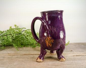 Troll / Monster Creature Cup 20 oz - Purple - Wheel Thrown and Hand Carved Coffee Mug