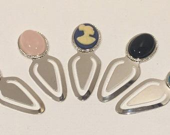 Semi-precious Gemstone Bookmarks, African Cameo Bookmarks, Silver Cabochon Bookmarks, Silver Cameo Bookmarks, Gemstone Bookmarks