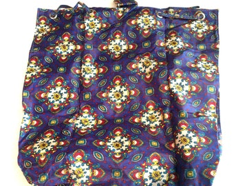 "Vintage 1970's Vinyl Drawstring Handbag Beautiful Colors  16x 14"""