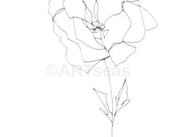"ORIGINAL Abstract Minimalist Drawing ""Blume Series""; Botanical Drawing, Flower Drawing"