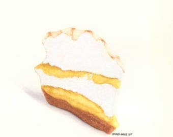 Lemon Meringue Pie - ORIGINAL Painting (Still Life Wall Art)