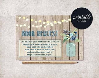 Book request card Baby Shower Insert, Rustic Book for Baby PRINTABLE, Bring a book instead of a card Boy Baby Shower Baby Book Insert Card