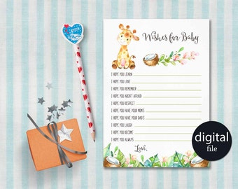 Baby Shower Wishes for Baby Printable, Giraffe Wishes for baby Girl or Boy, Giraffe Baby Shower Games, Printable Baby Wishes, Digital File