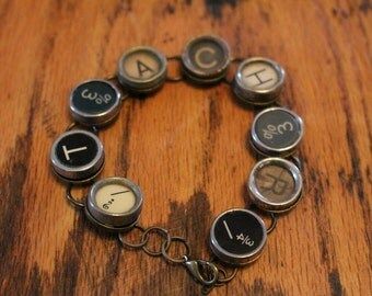 Teacher Typewriter Key Bracelet,inspiration,steampunk,unique gift,recycled,upcycled,reclaimed,vintage gift,industrial