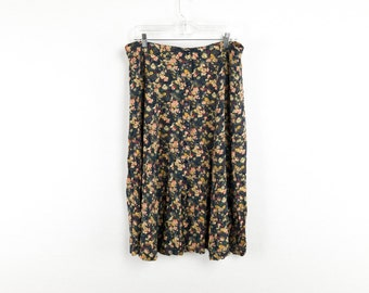 Pleated 90's Floral Print A-Line Skirt